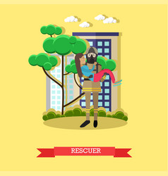 rescuer in flat style vector image vector image