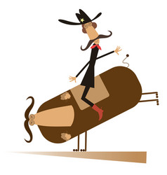 Rodeo man and bull isolated vector