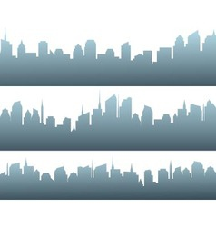 Set of city silhouette with sunrise vector
