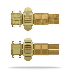 Set sand colour flat airship big weapon vector
