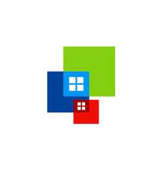 Window square colored logo vector