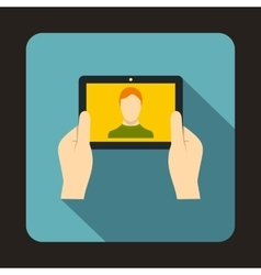 Hands holding tablet icon flat style vector image