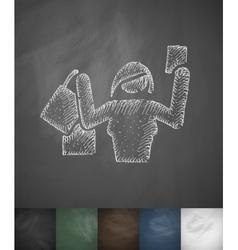 Buyer girl icon hand drawn vector