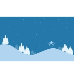 Landscape on the hill christmas holiday vector