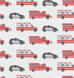 Seamless pattern of the fire engine ambulance and vector image