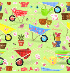 colorful seamless texture with equipment garden vector image