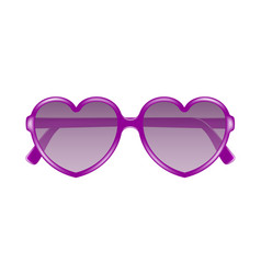 sun glasses in shape of heart in purple design vector image