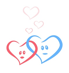 Blue and red love hearts together vector