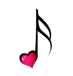 Music note with shiny heart vector