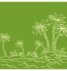 Sea island with palm trees contours on green vector