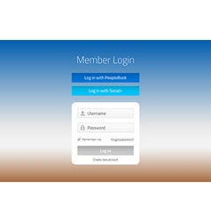Modern member login website form with social media vector