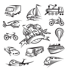 Set of icons of transport vector