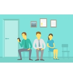 People sitting and waiting in the queue vector