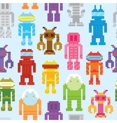 Retro robots seamless pattern vector