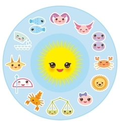 Funny kawaii sun zodiac sign astrological stiker vector