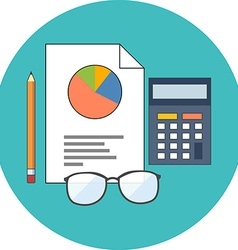 Accounting concept flat design icon in turquoise vector