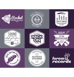 Set of music production logo musical label vector