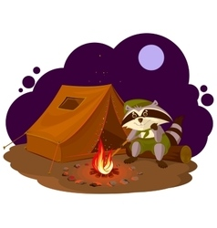 Summer holiday camp scout raccoon sitting around vector