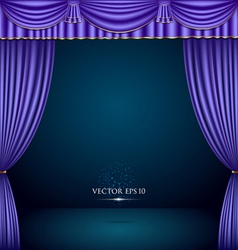 Purple and gold theater curtain classic vector