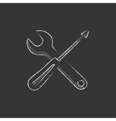 Screwdriver and wrench tools drawn in chalk icon vector