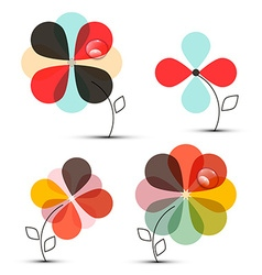Abstract Flowers Set vector image