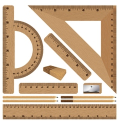 Wooden ruler and drawing set on white background vector