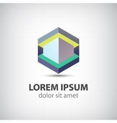 Abstract 3d cube construction logo vector