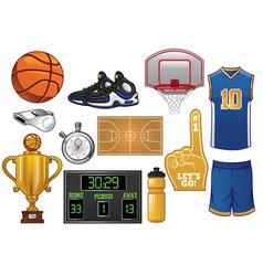 basketball equipment set vector image vector image