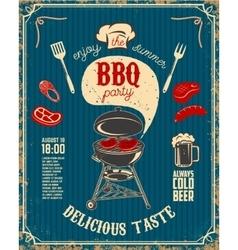 BBQ party vintage flyer on grunge background vector image