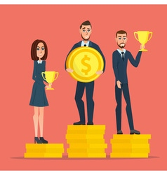 Businessman stand on money coin and hold a prize vector image