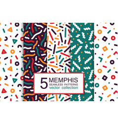 collection of colorful seamless patterns - memphis vector image vector image