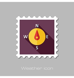 Compass flat stamp meteorology weather vector