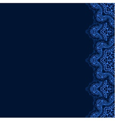 Decorative border with blue lace from snowflakes vector