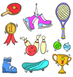 doodle sport equipment style various collection vector image vector image