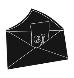 E-mail with virus icon in black style isolated on vector