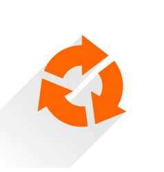 Flat orange arrow icon reset repeat sign on white vector