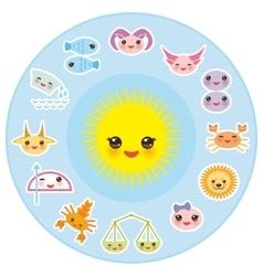 Funny kawaii sun zodiac sign astrological stiker vector