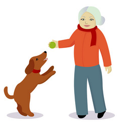 Granny play with dog vector