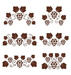 Grape vine ornate silhouettes set vector image