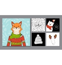 Hand drawn fox portrait and winter background vector