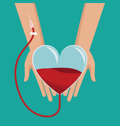 Hand holding heart glass blood donor vector