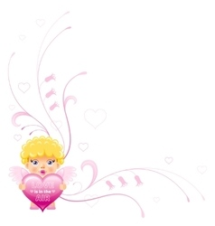 Happy Valentines day border Cupid boy angel vector image