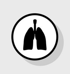 Human anatomy lungs sign flat black icon vector