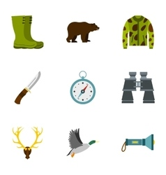 Hunting in forest icons set flat style vector