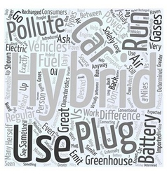 Hybrid cars vs plug in hybrid cars word cloud vector