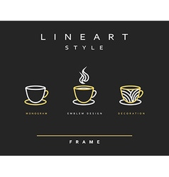 Icon cups Emblem line art design Elegant brochure vector image
