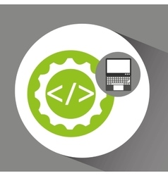 Laptop technology coding web icon vector