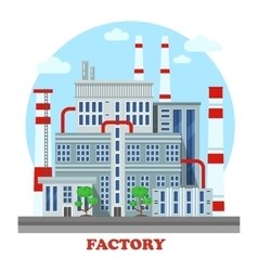 Manufacturing plant or factory with pipes vector