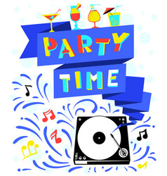 Nightclub poster party time lettering vector
