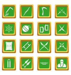Ninja tools icons set green vector